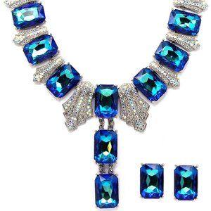 Blue Emerald Cut Necklace